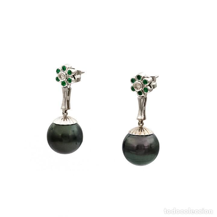 Joyeria: Pendientes de Perlas Tahití con Diamantes y Esmeraldas - Foto 4 - 211277004