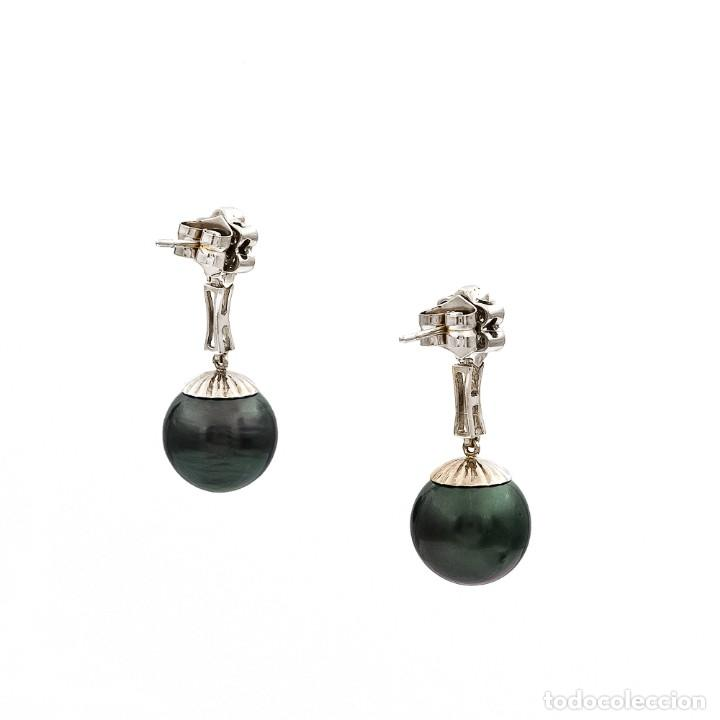Joyeria: Pendientes de Perlas Tahití con Diamantes y Esmeraldas - Foto 6 - 211277004