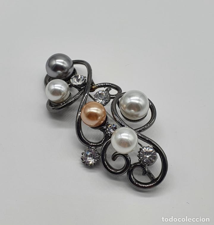 Joyeria: Bello colgante broche estilo modernista platinado en oro negro, perlas y circonitas talla diamante . - Foto 2 - 249567895