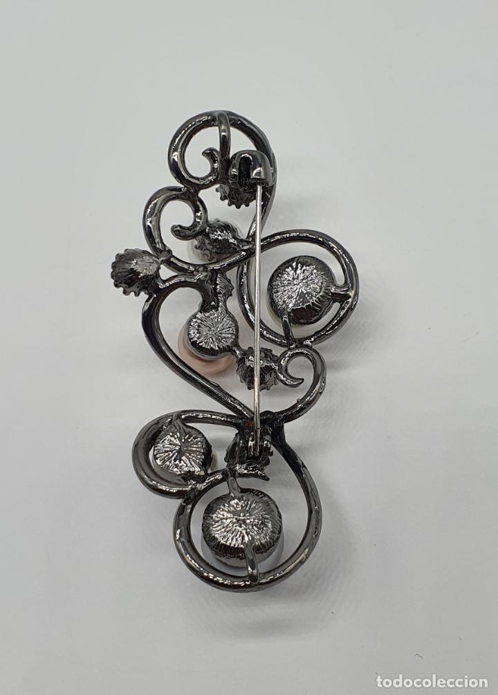 Joyeria: Bello colgante broche estilo modernista platinado en oro negro, perlas y circonitas talla diamante . - Foto 5 - 249567895
