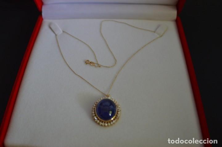 Joyeria: Colgante de oro amarillo 14K con piedra tanzanita y diamantes. Certificado - joya collar - Foto 2 - 212098202