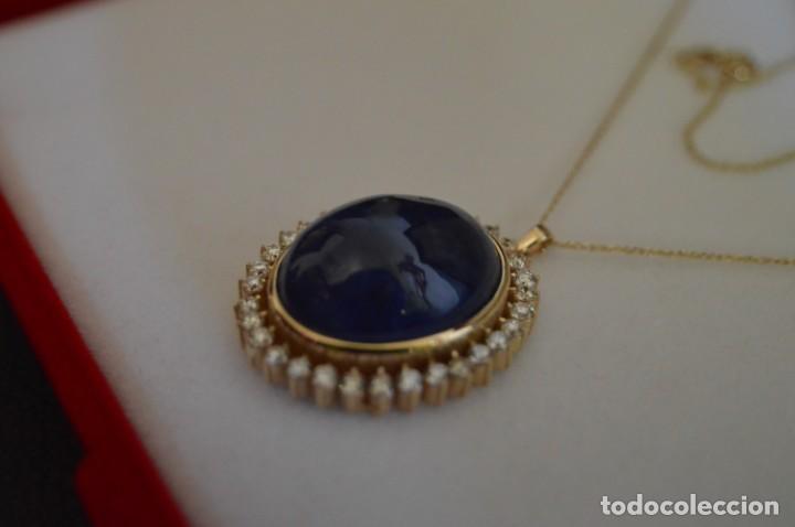 Joyeria: Colgante de oro amarillo 14K con piedra tanzanita y diamantes. Certificado - joya collar - Foto 5 - 212098202