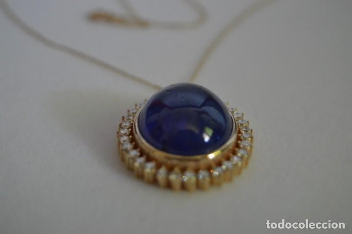 Joyeria: Colgante de oro amarillo 14K con piedra tanzanita y diamantes. Certificado - joya collar - Foto 6 - 212098202