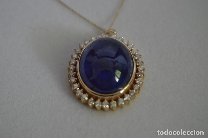 Joyeria: Colgante de oro amarillo 14K con piedra tanzanita y diamantes. Certificado - joya collar - Foto 7 - 212098202