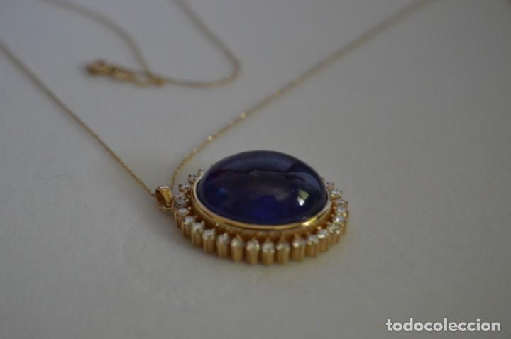 Joyeria: Colgante de oro amarillo 14K con piedra tanzanita y diamantes. Certificado - joya collar - Foto 8 - 212098202