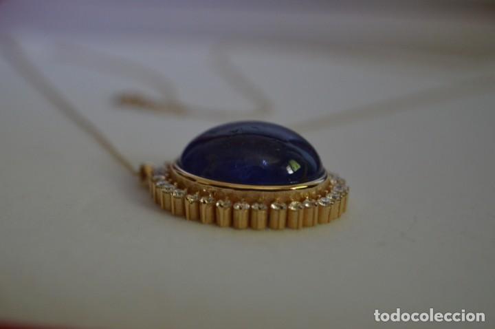 Joyeria: Colgante de oro amarillo 14K con piedra tanzanita y diamantes. Certificado - joya collar - Foto 9 - 212098202