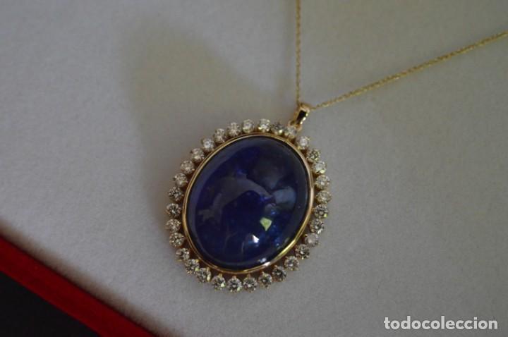 Joyeria: Colgante de oro amarillo 14K con piedra tanzanita y diamantes. Certificado - joya collar - Foto 10 - 212098202