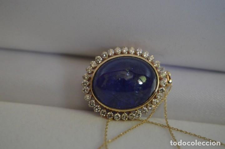 Joyeria: Colgante de oro amarillo 14K con piedra tanzanita y diamantes. Certificado - joya collar - Foto 11 - 212098202