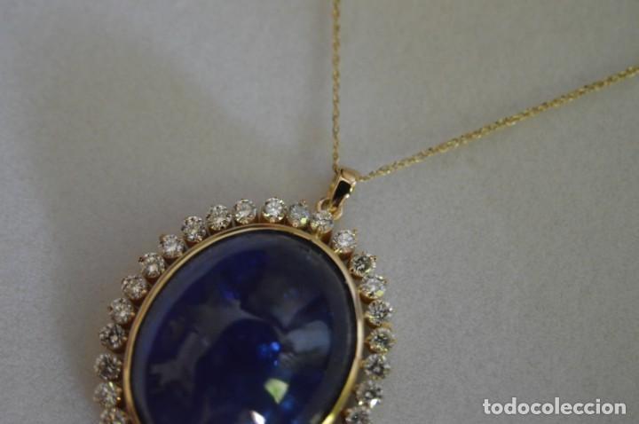 Joyeria: Colgante de oro amarillo 14K con piedra tanzanita y diamantes. Certificado - joya collar - Foto 12 - 212098202
