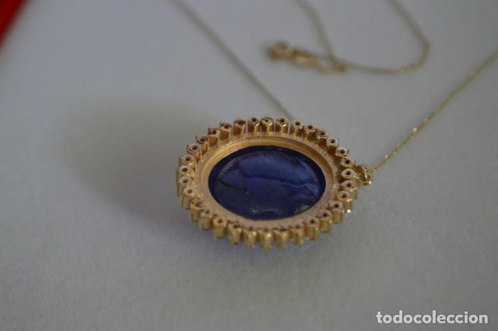 Joyeria: Colgante de oro amarillo 14K con piedra tanzanita y diamantes. Certificado - joya collar - Foto 15 - 212098202