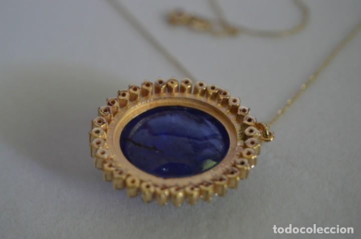 Joyeria: Colgante de oro amarillo 14K con piedra tanzanita y diamantes. Certificado - joya collar - Foto 16 - 212098202