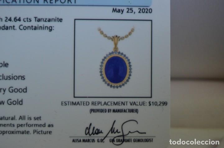 Joyeria: Colgante de oro amarillo 14K con piedra tanzanita y diamantes. Certificado - joya collar - Foto 20 - 212098202