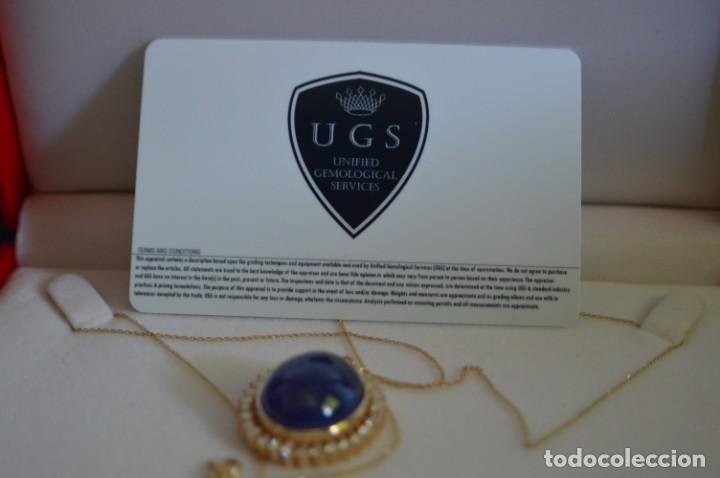 Joyeria: Colgante de oro amarillo 14K con piedra tanzanita y diamantes. Certificado - joya collar - Foto 21 - 212098202