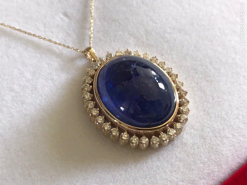 Joyeria: Colgante de oro amarillo 14K con piedra tanzanita y diamantes. Certificado - joya collar - Foto 14 - 212098202