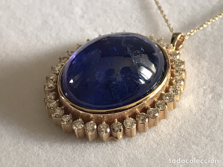Joyeria: Colgante de oro amarillo 14K con piedra tanzanita y diamantes. Certificado - joya collar - Foto 13 - 212098202