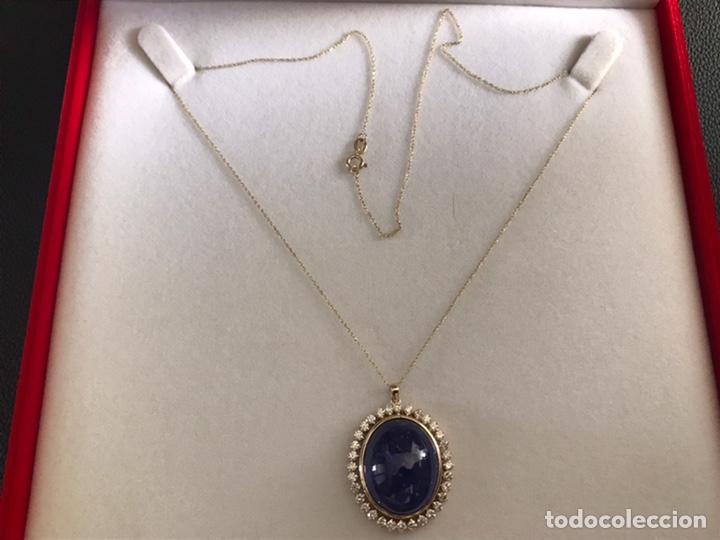 Joyeria: Colgante de oro amarillo 14K con piedra tanzanita y diamantes. Certificado - joya collar - Foto 4 - 212098202