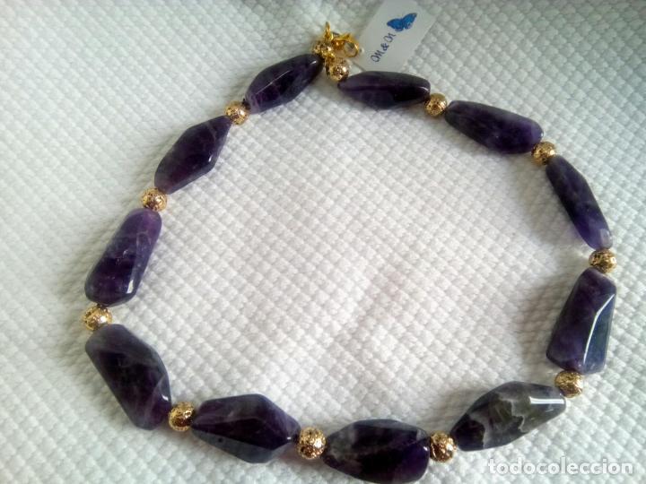 Joyeria: Collar de amatistas gran tamaño. Piezas irregulares muy grandes. Sin estrenar. 51 cm largo. - Foto 3 - 212382543
