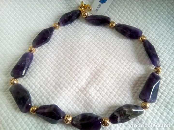 Joyeria: Collar de amatistas gran tamaño. Piezas irregulares muy grandes. Sin estrenar. 51 cm largo. - Foto 4 - 212382543