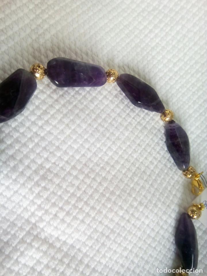 Joyeria: Collar de amatistas gran tamaño. Piezas irregulares muy grandes. Sin estrenar. 51 cm largo. - Foto 6 - 212382543