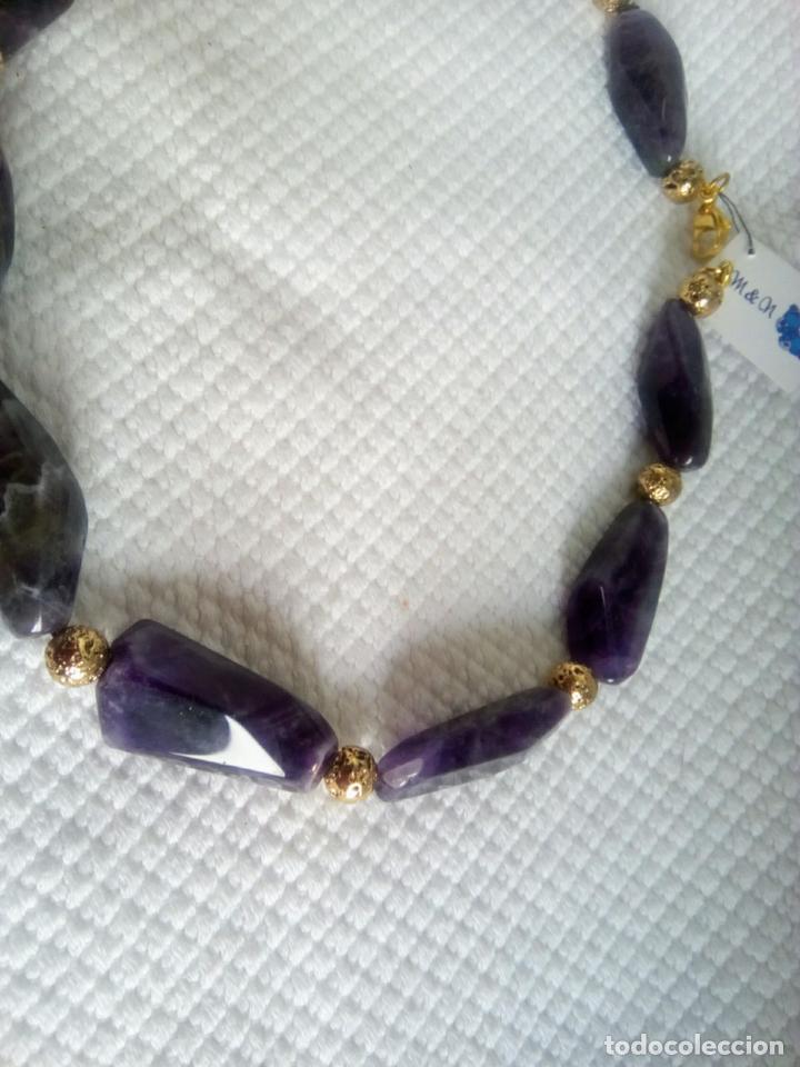 Joyeria: Collar de amatistas gran tamaño. Piezas irregulares muy grandes. Sin estrenar. 51 cm largo. - Foto 9 - 212382543