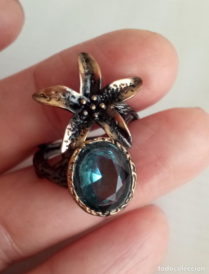 Joyeria: Anillo / sortija estilo vintage, con topacios azul Londres en plata negra 925. Talla 18. - Foto 3 - 213309672