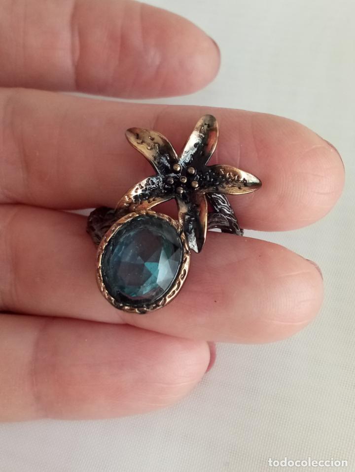 Joyeria: Anillo / sortija estilo vintage, con topacios azul Londres en plata negra 925. Talla 18. - Foto 4 - 213309672