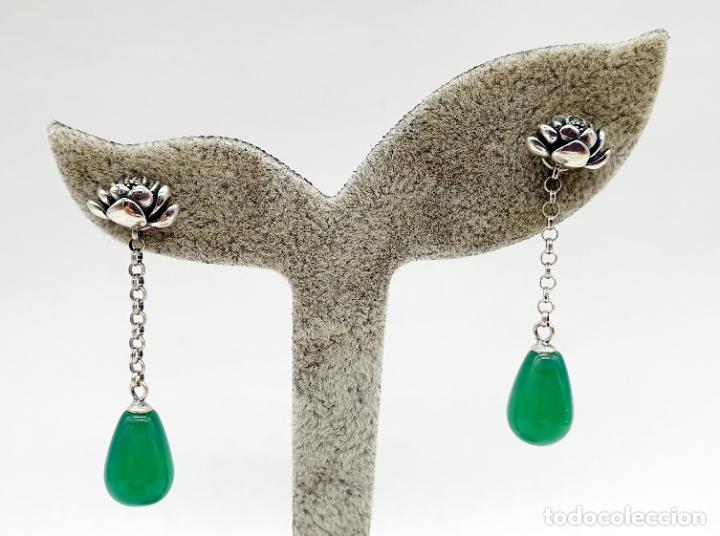 Joyeria: Pendientes estilo vintage orientales en plata de ley con forma de flor de loto y lágrima en jade . - Foto 5 - 213436811