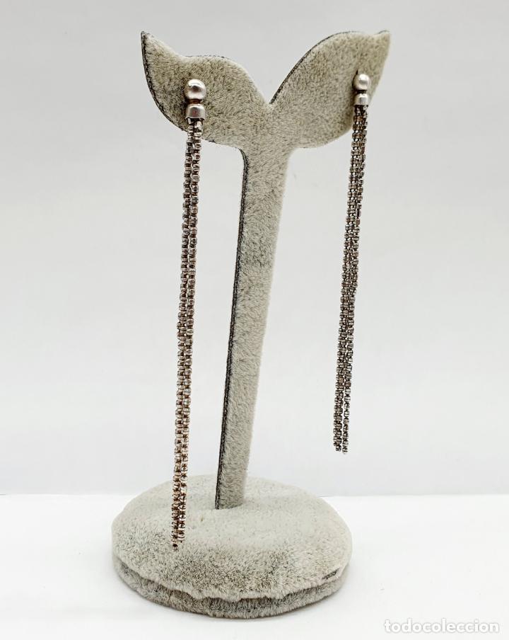 Joyeria: Elegantes pendientes vintage largos en plata de ley contrastada . - Foto 2 - 213436985