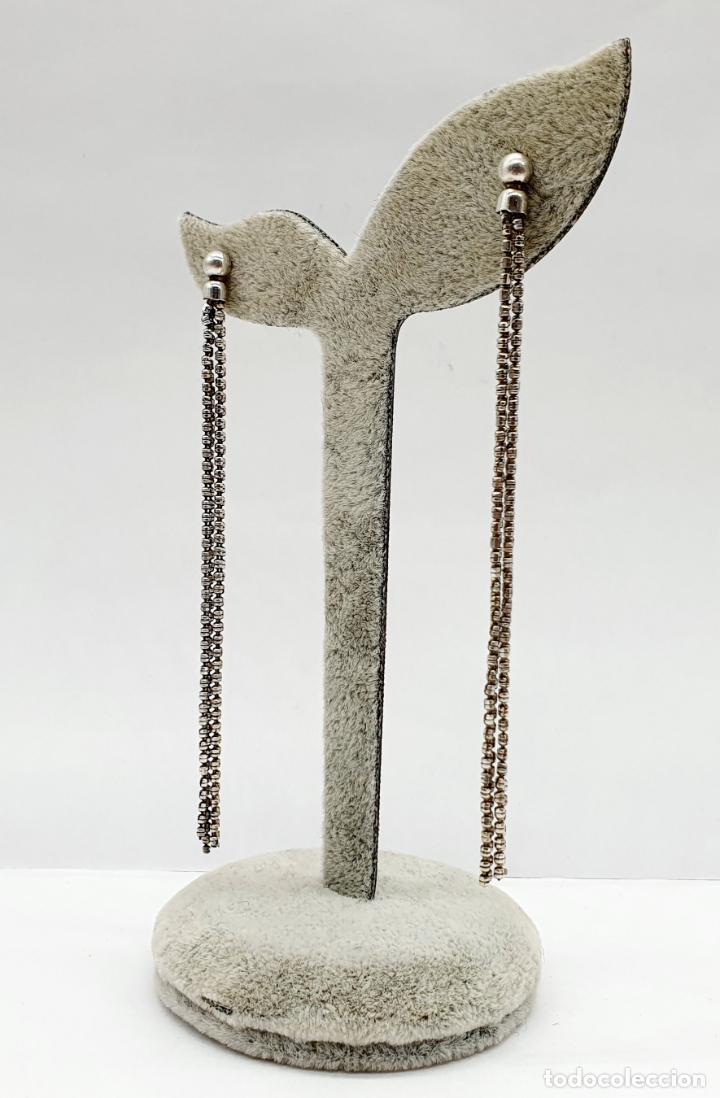 Joyeria: Elegantes pendientes vintage largos en plata de ley contrastada . - Foto 4 - 213436985