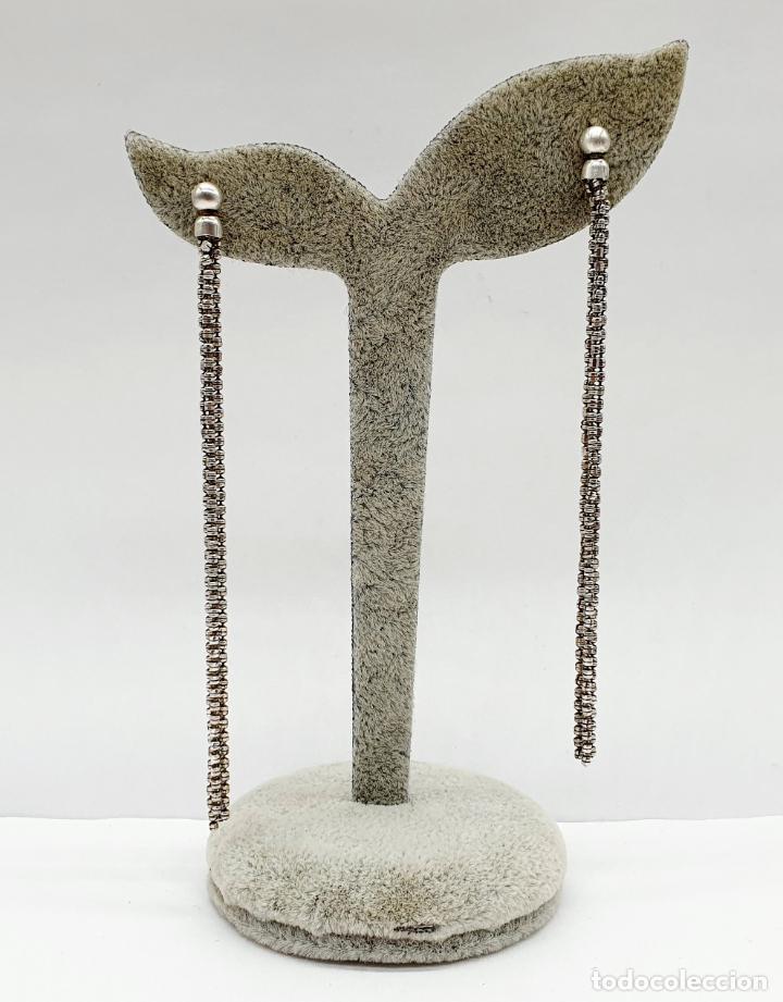 Joyeria: Elegantes pendientes vintage largos en plata de ley contrastada . - Foto 5 - 213436985