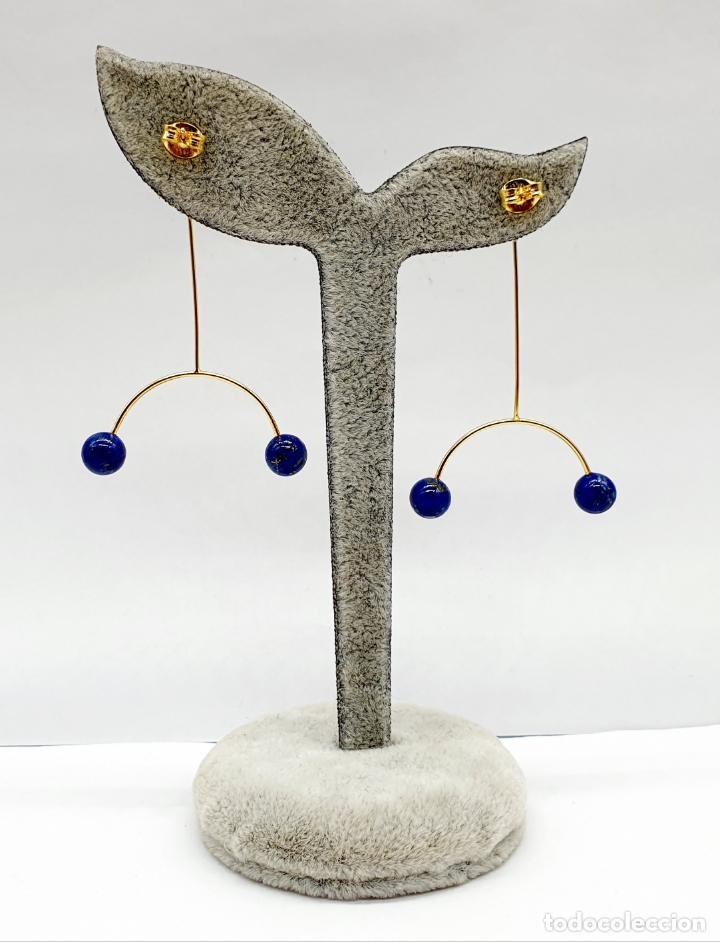 Joyeria: Bellos pendientes de diseño minimalista en plata de ley, baño de oro de 18k y perlas lapislázuli . - Foto 3 - 213437101