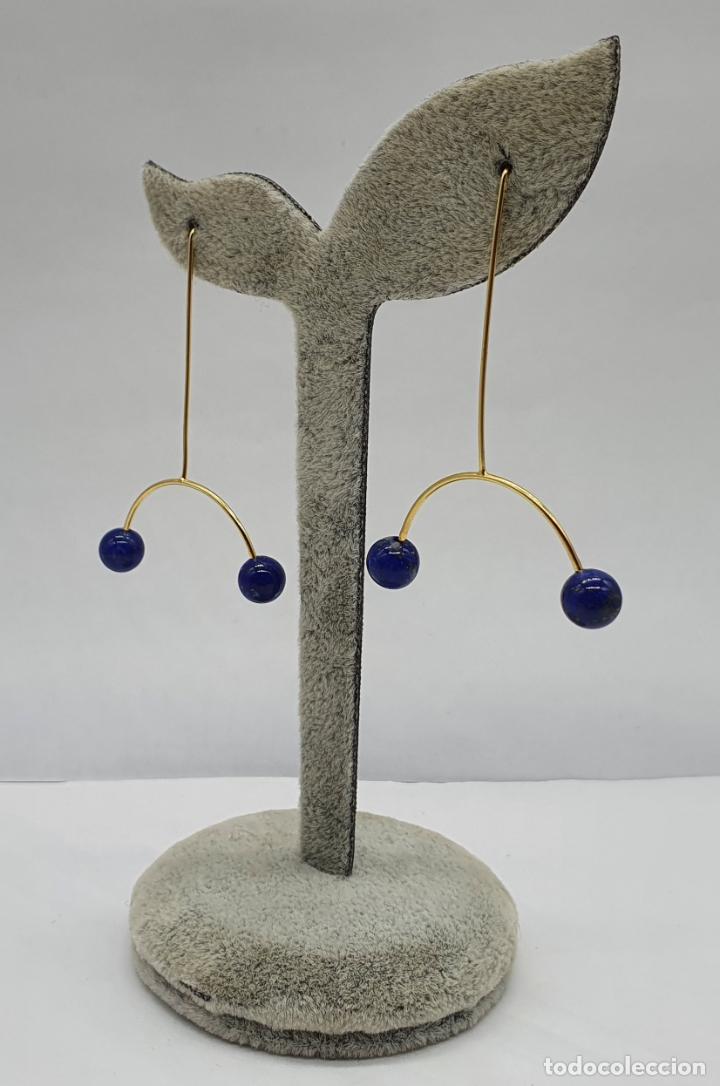 Joyeria: Bellos pendientes de diseño minimalista en plata de ley, baño de oro de 18k y perlas lapislázuli . - Foto 4 - 213437101