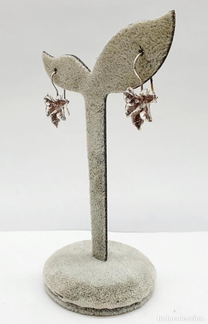 Joyeria: Pendientes vintage originales con forma de hoja de parra en plata de ley . - Foto 2 - 213437291