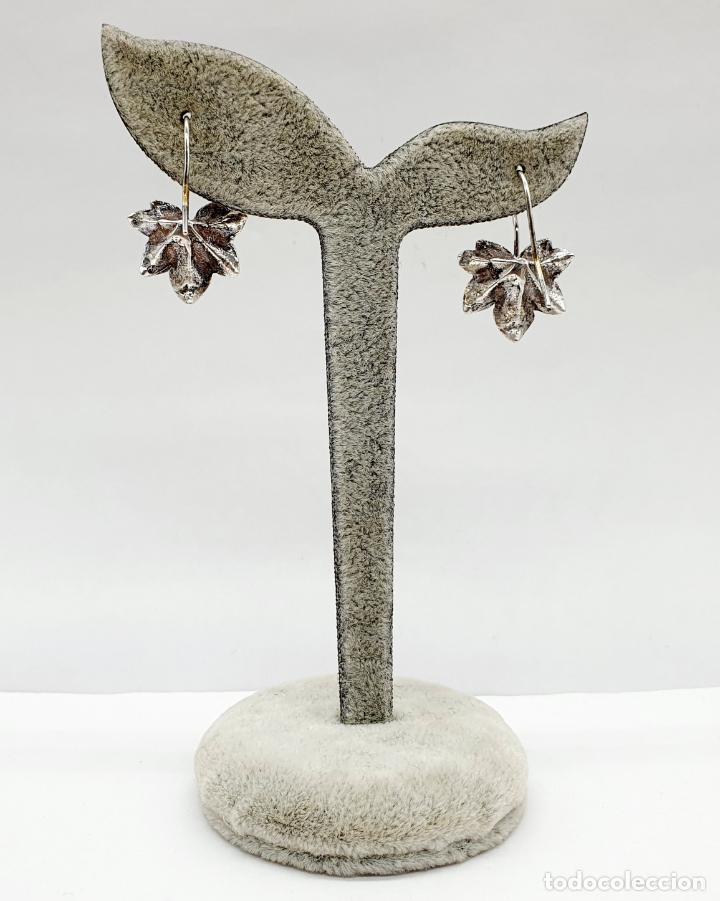 Joyeria: Pendientes vintage originales con forma de hoja de parra en plata de ley . - Foto 3 - 213437291