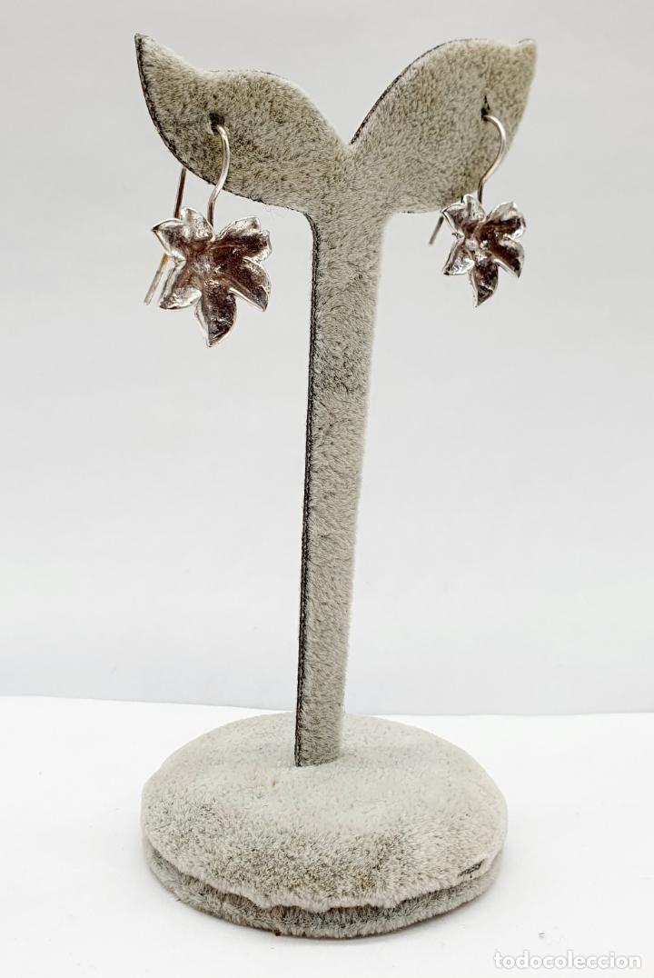Joyeria: Pendientes vintage originales con forma de hoja de parra en plata de ley . - Foto 4 - 213437291
