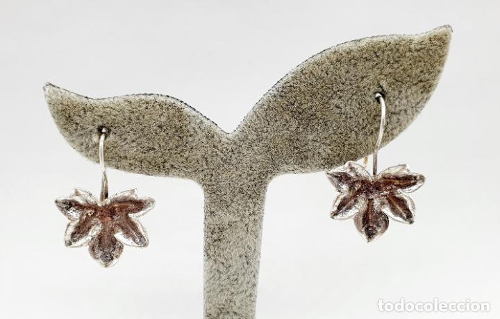 Joyeria: Pendientes vintage originales con forma de hoja de parra en plata de ley . - Foto 5 - 213437291