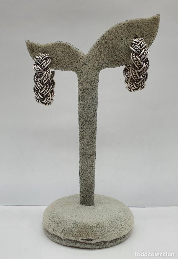 Joyeria: Pendientes vintage en forma de aros de plata de ley trenzada . - Foto 2 - 213437442