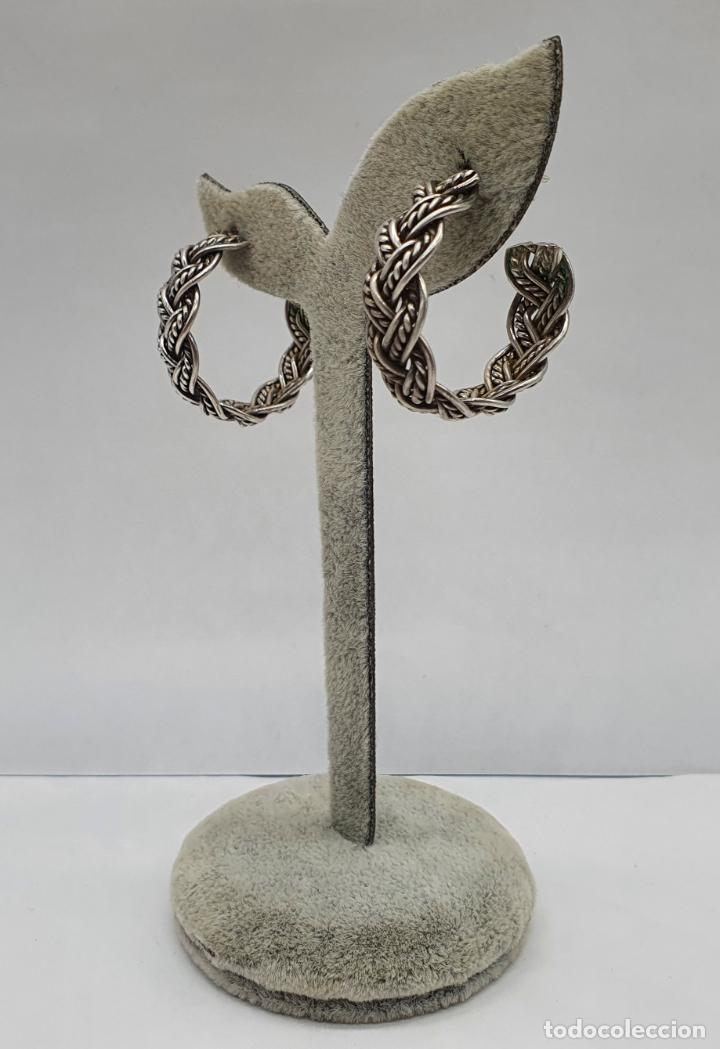 Joyeria: Pendientes vintage en forma de aros de plata de ley trenzada . - Foto 3 - 213437442