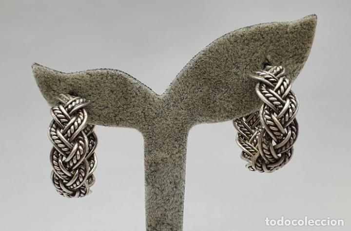 Joyeria: Pendientes vintage en forma de aros de plata de ley trenzada . - Foto 5 - 213437442