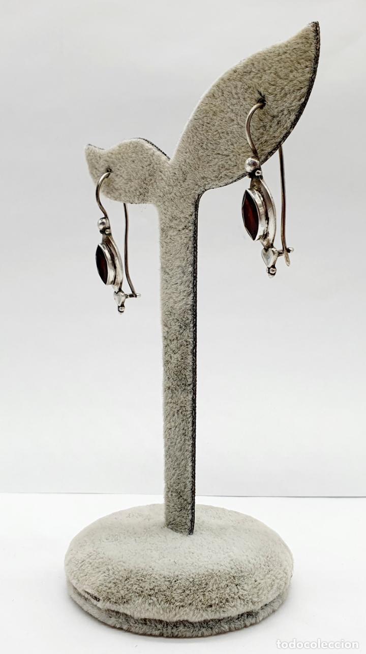 Joyeria: Pendientes vintage en plata de ley contrastada con granates auténticos talla marqués incrustados . - Foto 2 - 213437836