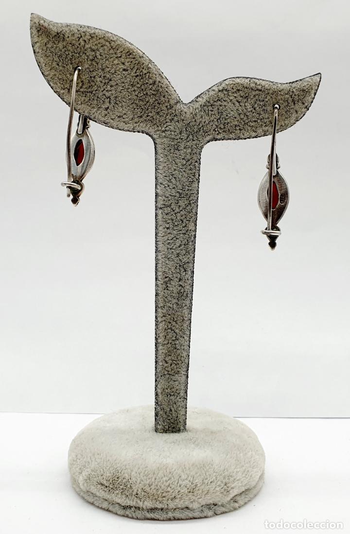 Joyeria: Pendientes vintage en plata de ley contrastada con granates auténticos talla marqués incrustados . - Foto 3 - 213437836