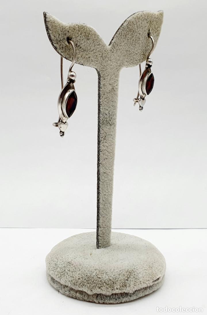 Joyeria: Pendientes vintage en plata de ley contrastada con granates auténticos talla marqués incrustados . - Foto 4 - 213437836