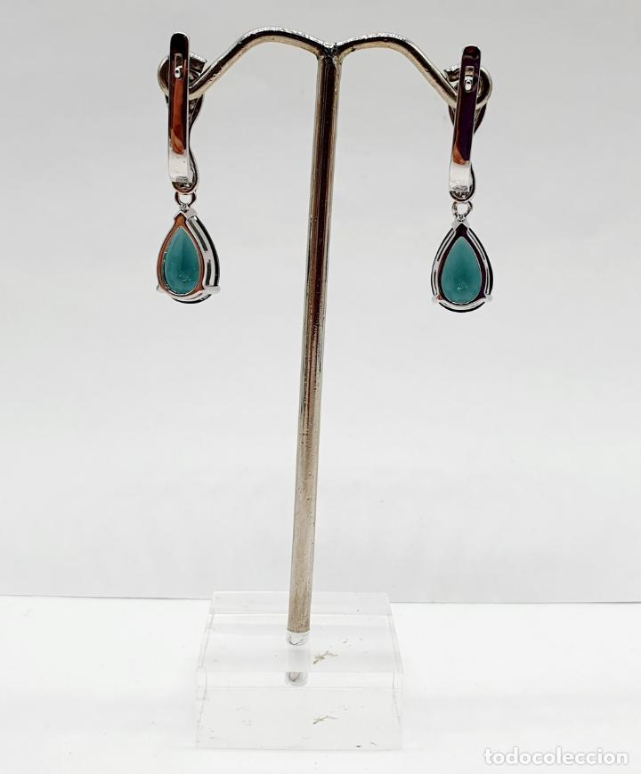 Joyeria: Elegantes pendientes en plata de ley, circonitas talla brillante y turmalinas talla pera engarzadas - Foto 3 - 213617646