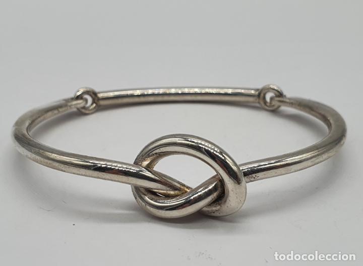 Joyeria: Antiguo brazalete art decó en plata de ley contrastada con nudo tipo ocho . - Foto 5 - 214506070