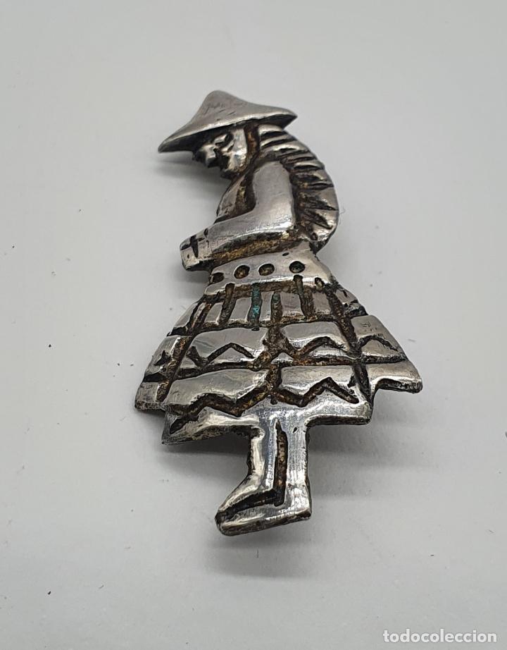 Joyeria: Broche antiguo de campesina andina en plata de ley cincelada a mano . - Foto 3 - 214726848