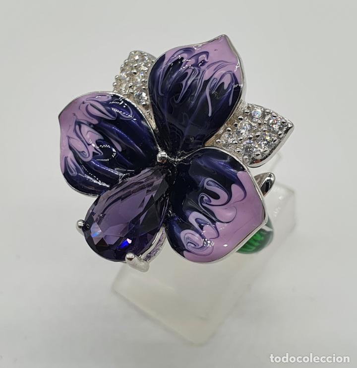 Joyeria: Fantástica sortija orquídea en plata de ley contrastada, esmaltes, circonitas y amatista talla pera - Foto 2 - 214728030