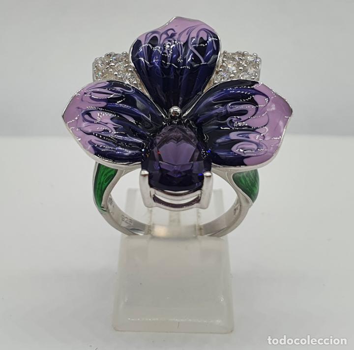 Joyeria: Fantástica sortija orquídea en plata de ley contrastada, esmaltes, circonitas y amatista talla pera - Foto 3 - 214728030