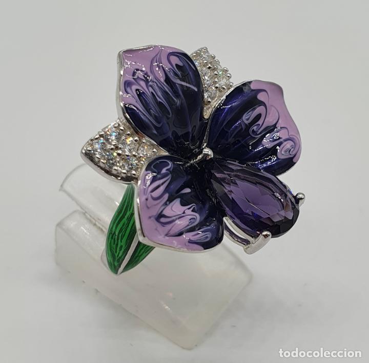 Joyeria: Fantástica sortija orquídea en plata de ley contrastada, esmaltes, circonitas y amatista talla pera - Foto 4 - 214728030
