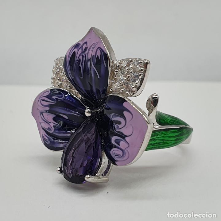 Joyeria: Fantástica sortija orquídea en plata de ley contrastada, esmaltes, circonitas y amatista talla pera - Foto 6 - 214728030