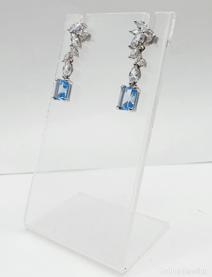 Joyeria: Elegantes pendientes de estilo nupcial en plata de ley, circonitas talla marqués y aguamarinas . - Foto 3 - 214740448